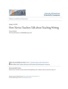 How Novice Teachers Talk About Teaching Writing - ScholarlyCommons