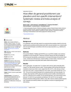 How often do general practitioners use placebos and non-specific