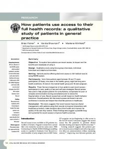 How patients use access to their full health records: a ... - SAGE Journals