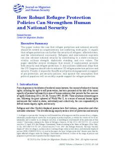 How Robust Refugee Protection Policies Can Strengthen Human and ...