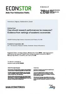 How should research performances be measures? - EconStor