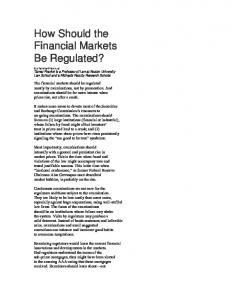 How Should the Financial Markets Be Regulated? - Tamar Frankel