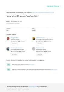 How should we define health?