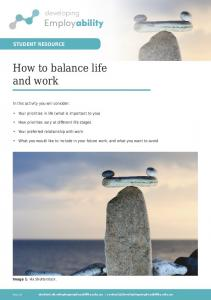 How to balance life and work