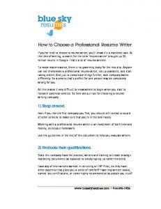 How to Choose a Professional Resume Writer - Blue Sky Resumes
