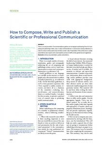 How to Compose, Write and Publish a Scientific or