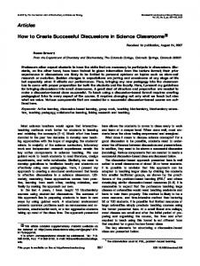 How to create successful discussions in science ... - Wiley Online Library