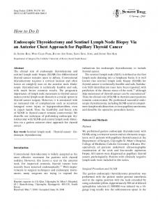 How to Do It Endoscopic Thyroidectomy and Sentinel ... - Springer Link
