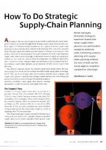 How To Do Strategic Supply-Chain Planning