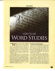 How to Do Word Studies - Andy Naselli