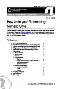 How to do your Referencing: Numeric Style