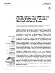 How to Evaluate Phase Differences between Trial Groups ... - Frontiers