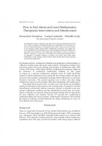 How to Feel About and Learn Mathematics: Therapeutic Intervention ...