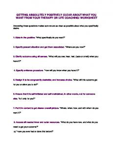 How To Get Absolutely, Positively Clear About What You Want From ...