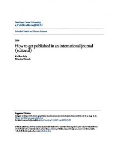 How to get published in an international journal ...