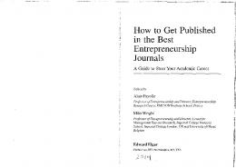How to Get Published in the Best Entrepreneurship