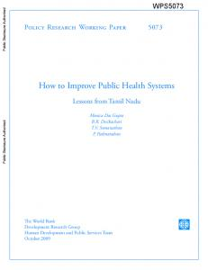 How to Improve Public Health Systems