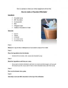 How to make a Chocolate Milkshake! - WordPress.com