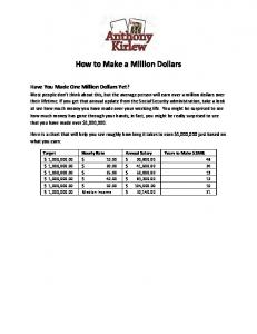 How to Make a Million Dollars - Anthony Kirlew