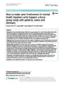 How to make carer involvement in mental health ... - BMC Psychiatry