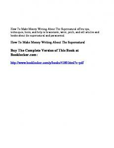 How To Make Money Writing About The Supernatural