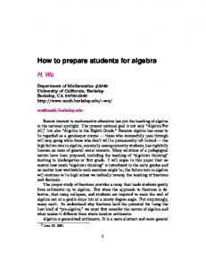 How to prepare students for algebra