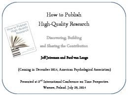 How to Publish High-Quality Research