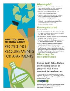 How to recycle - South Tahoe Refuse
