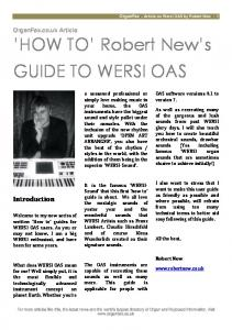 'HOW TO' Robert New's GUIDE TO WERSI OAS - OrganFax