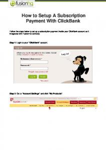 How to Setup A Subscription Payment With ClickBank - Tutorials