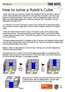 How to solve a Rubik's Cube - Think Maths