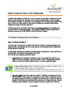 How to Solve Daily Life Problems - AnxietyBC