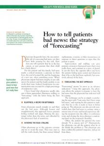 How to tell patients bad news: the strategy of ...