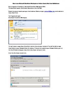How to use Microsoft SharePoint Workspace to Archive Course Data ...