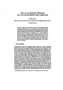 How to use planarity efficiently: new tree-decomposition based ... - UiB