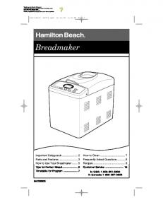 How to Use Your Breadmaker - Hamilton Beach