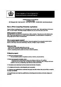 How to Write a Compelling Fellowship Application