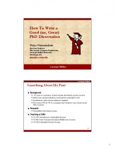 How to Write a Good (no, Great) PhD Dissertation