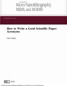 How to Write a Good Scientific Paper: Acronyms