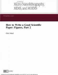 How to Write a Good Scientific Paper: Figures, Part 2