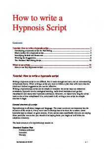 How to write a Hypnosis Script - 2MCH4YA