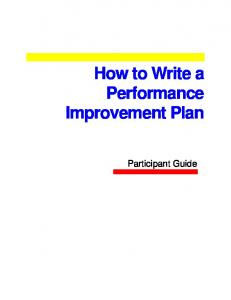 How to Write a Performance Improvement Plan
