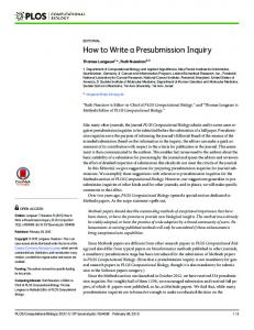 How to Write a Presubmission Inquiry - PLOS