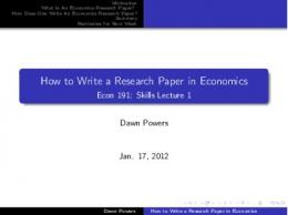 How to Write a Research Paper in Economics