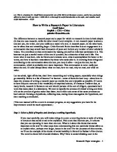 How to Write a Research Paper in Literature