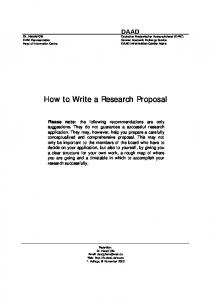 How to Write a Research Proposal - DAAD