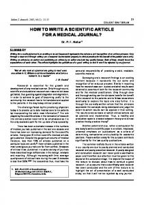 how to write a scientific article for a medical journal? - medIND