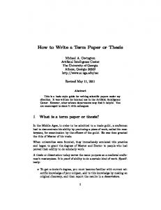 How to write a term paper or thesis (PDF)
