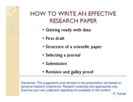 HOW TO WRITE AN EFFECTIVE RESEARCH PAPER