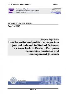 How to write and publish a paper in a journal indexed in Web of Science